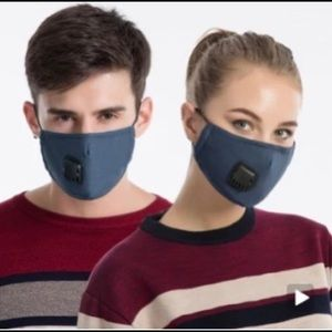 Reusable cotton face mask w/ valve & 2 filters